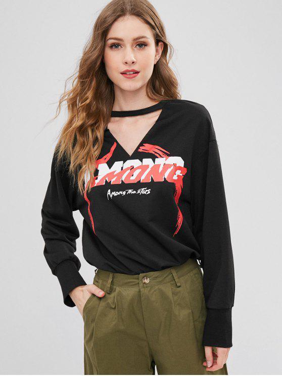 women's Cut Out Graphic Choker Sweatshirt - BLACK XL