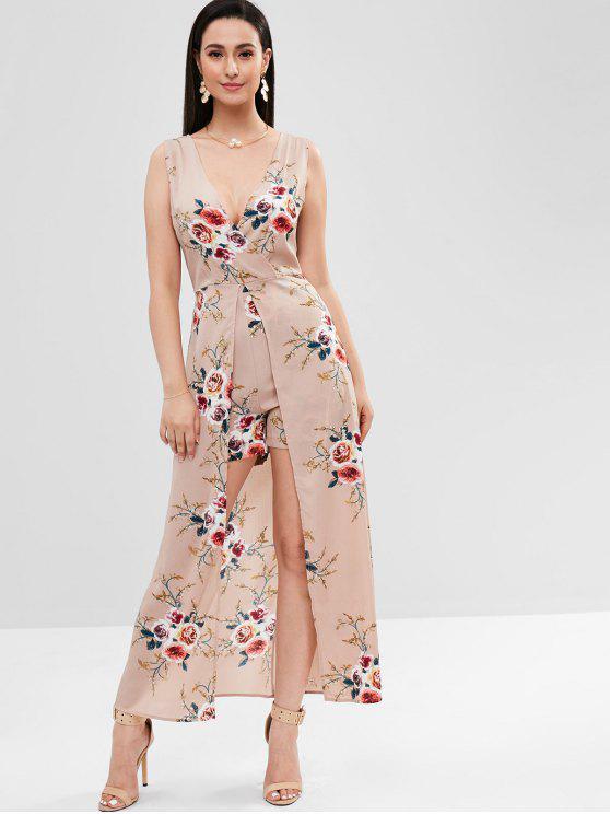 b66599d2e8c 34% OFF  2019 Backless Floral Maxi Romper Dress In ORANGE PINK