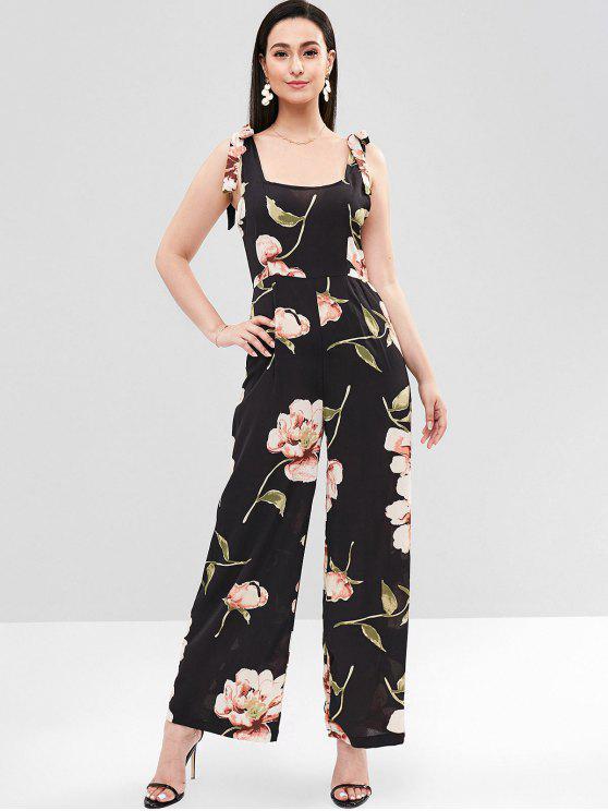 shops Tie Shoulder Floral Palazzo Jumpsuit - BLACK XL