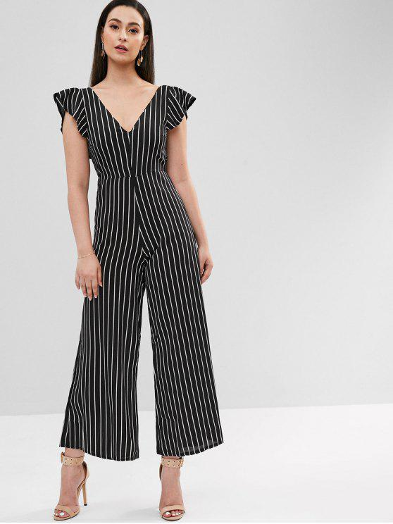 trendy Sleeveless Ruffles Striped Wide Leg Jumpsuit - MULTI L