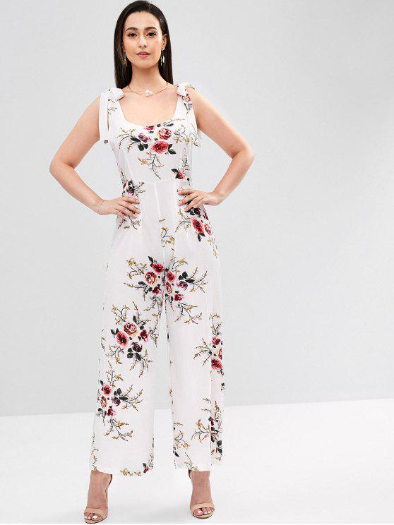 chic Tie Shoulder Floral Palazzo Jumpsuit - WHITE S