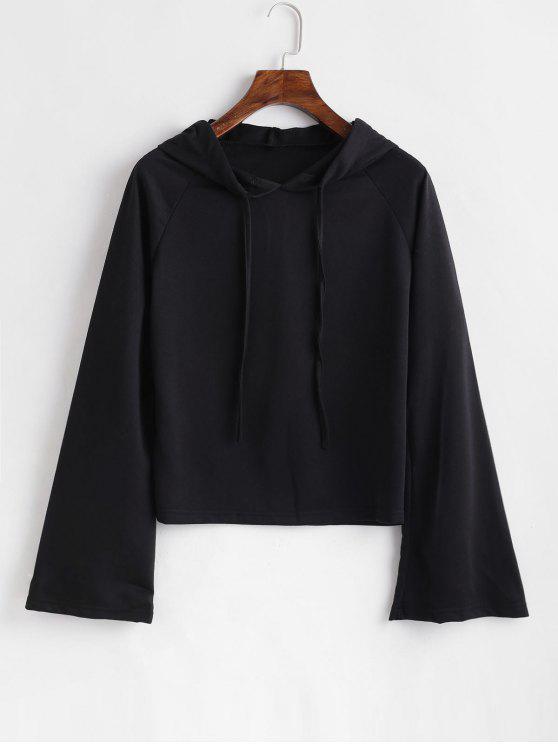 women's Plain Flare Sleeve Hoodie - BLACK S