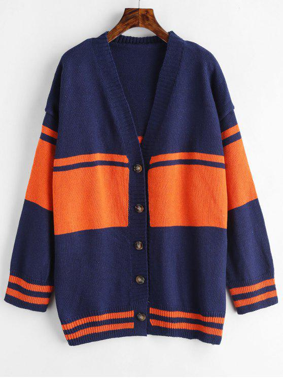 best Button Up Two Tone Cardigan - CADETBLUE ONE SIZE