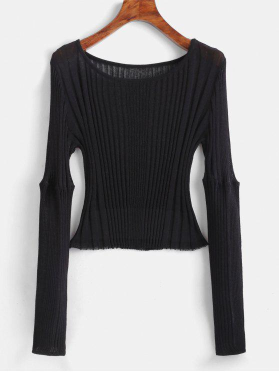 new Ribbed Fitted Crop Sweater - BLACK ONE SIZE