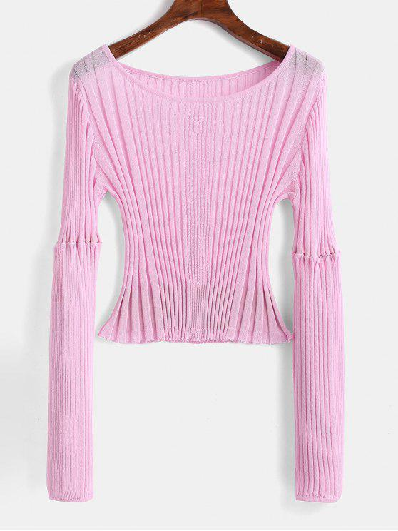 outfit Ribbed Fitted Crop Sweater - BLUSH PINK ONE SIZE