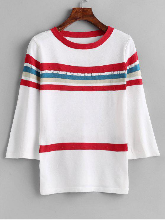 fancy Flare Sleeve Stripes Sweater - WHITE ONE SIZE