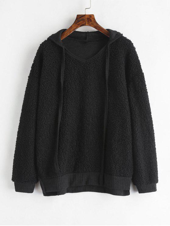 unique Side Slit Fluffy Hoodie - BLACK M