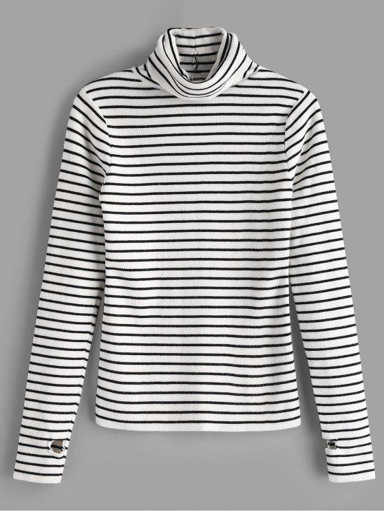 buy Thumb Hole Striped Knit Top - WHITE ONE SIZE