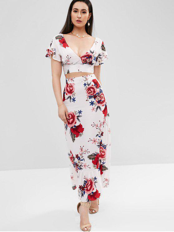 ladies Plunge Floral Two Piece Maxi Dress - WHITE L