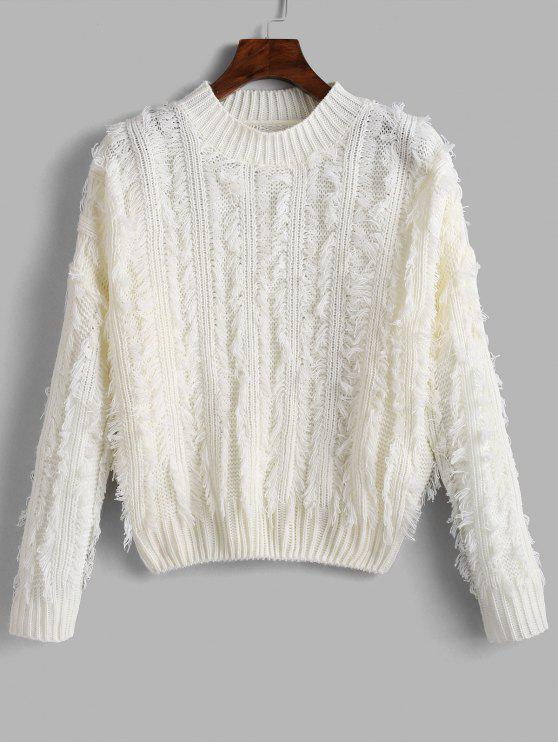 best Fringed Drop Shoulder Sweater - WHITE ONE SIZE