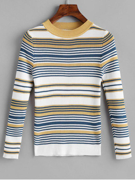 outfits Stripes Ribbed Pullover Sweater - MULTI ONE SIZE