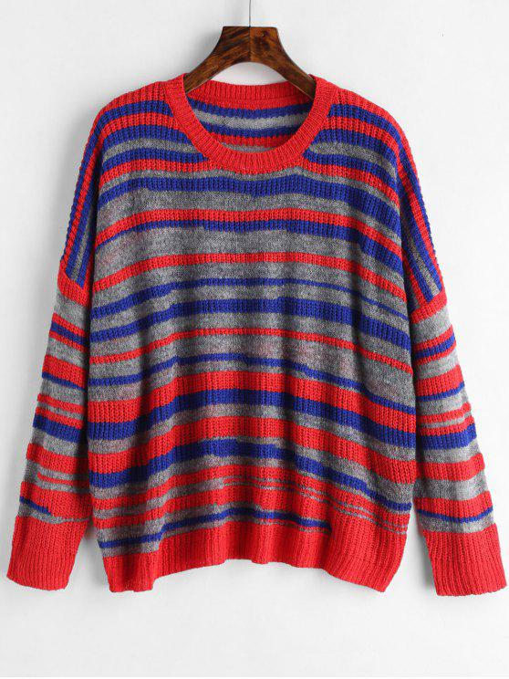 unique Striped Loose Fit Knitted Top - MULTI ONE SIZE