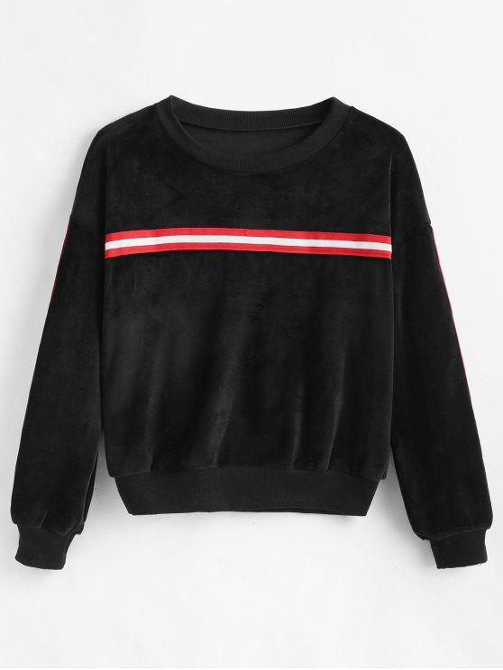 affordable Drop Shoulder Striped Velvet Sweatshirt - BLACK L