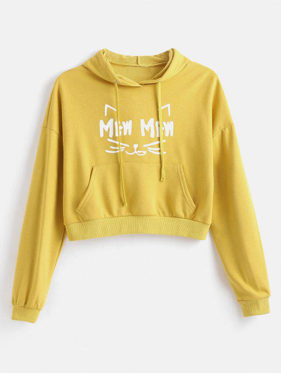 buy Cute New Man Cat Graphic Hoodie - SUN YELLOW ONE SIZE