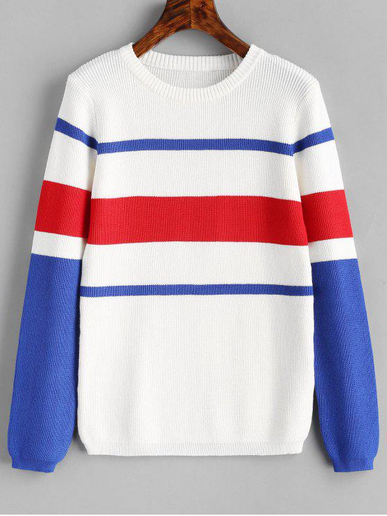 online Ribbed Contrast Striped Sweater - WHITE ONE SIZE