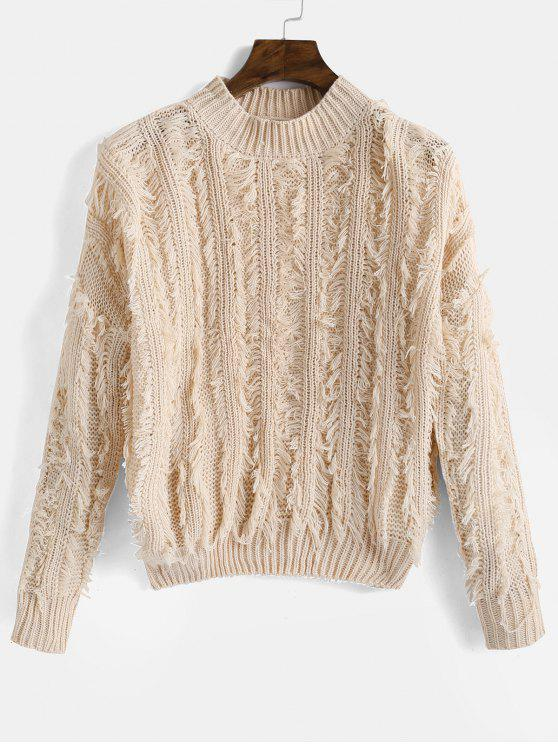 outfit Fringed Drop Shoulder Sweater - APRICOT ONE SIZE