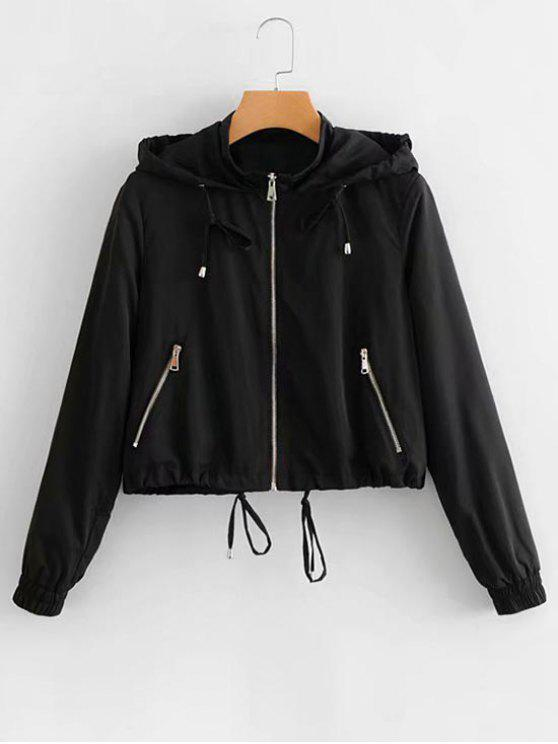 outfits Hooded Drawstring Zip Up Jacket - BLACK S