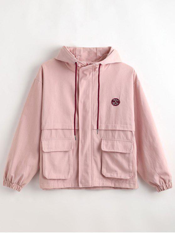 affordable Hooded Letter Drop Shoulder Jacket - SAKURA PINK L