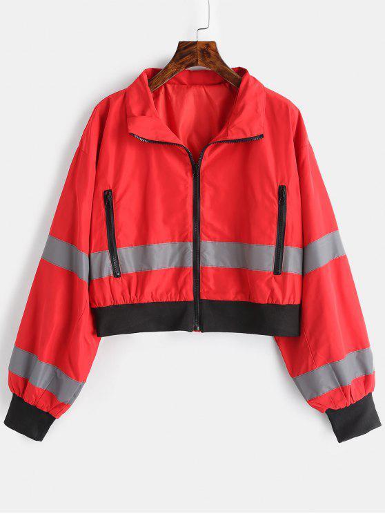 online Zip Pocket Reflective Jacket - RED L