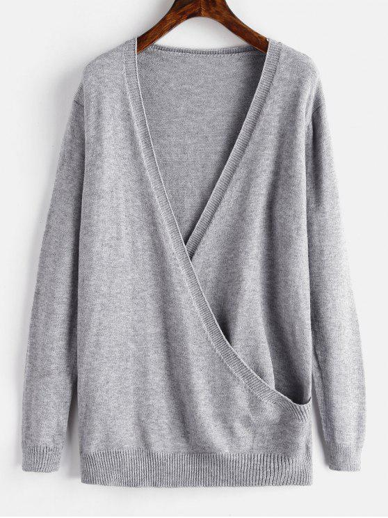 outfits Surplice Plunge Tunic Sweater - GRAY ONE SIZE