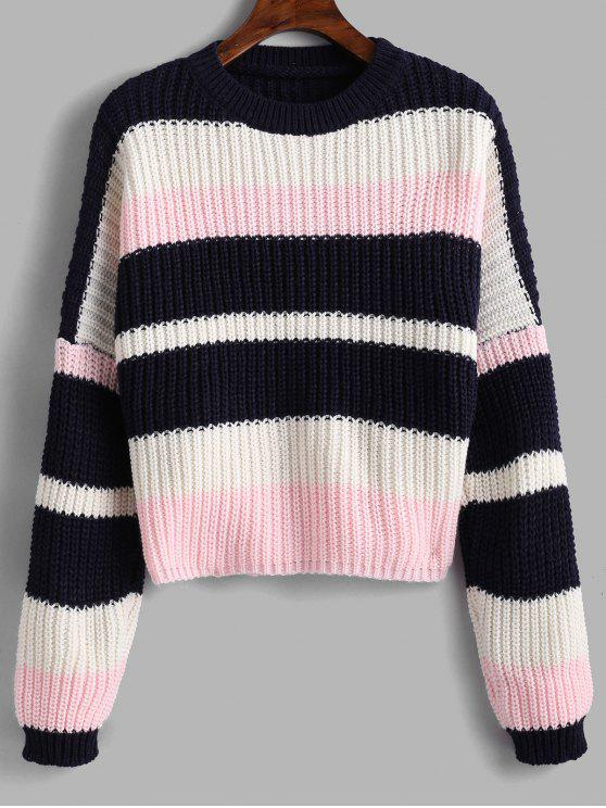 trendy Color Block Chunky Crop Sweater - PINK ONE SIZE
