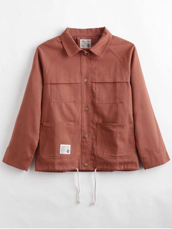 sale Raglan Sleeve Button Up Jacket - DARK SALMON L