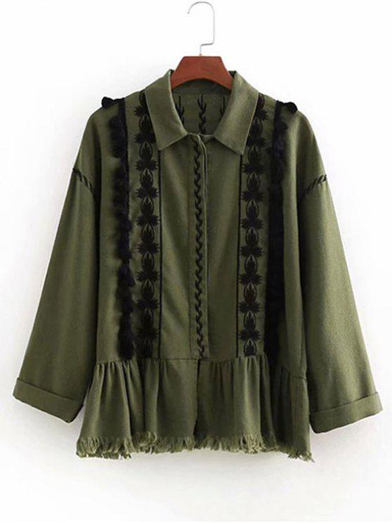 buy Tassels Embroidered Button Up Jacket - ARMY GREEN L