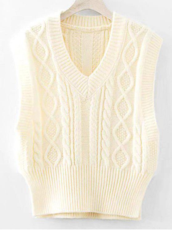 women Side Slit Cable Knit Sweater Vest - BEIGE ONE SIZE