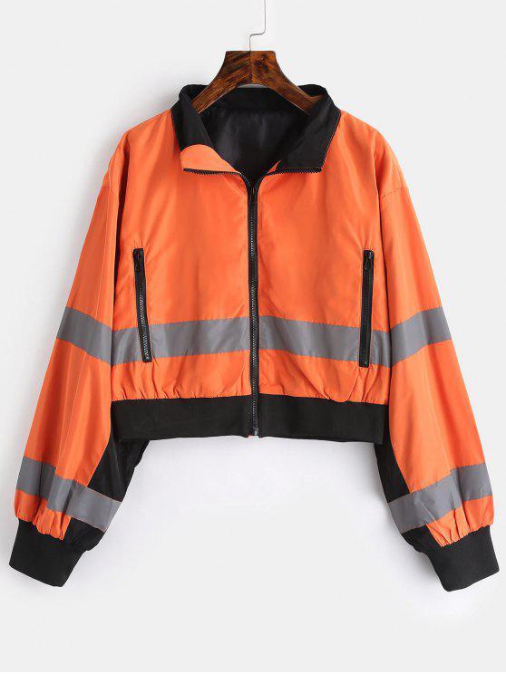 ladies Zip Pocket Reflective Jacket - SANDY BROWN L