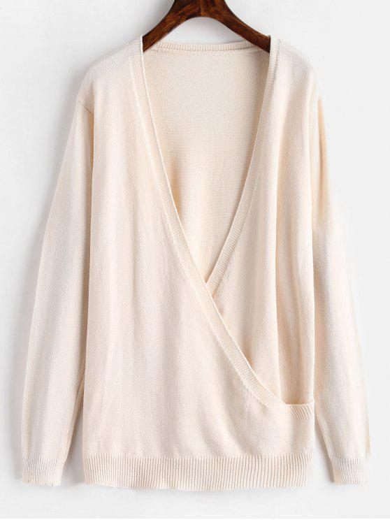 best Surplice Plunge Tunic Sweater - APRICOT ONE SIZE