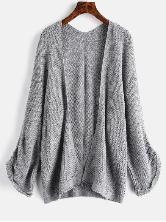 online Textured Collarless Tunic Cardigan - GRAY ONE SIZE