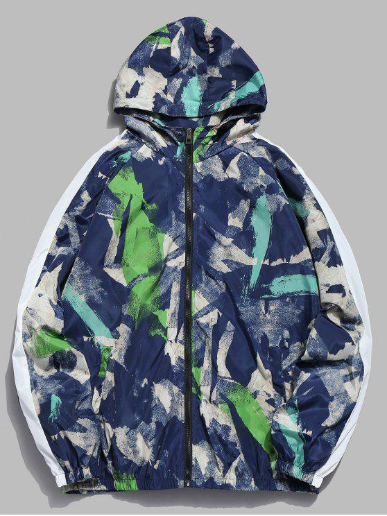 shops Abstract Art Print Waterproof Jacket - STEEL BLUE L