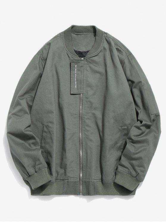 lady Casual Top Placket Bomber Jacket - ARMY GREEN XS