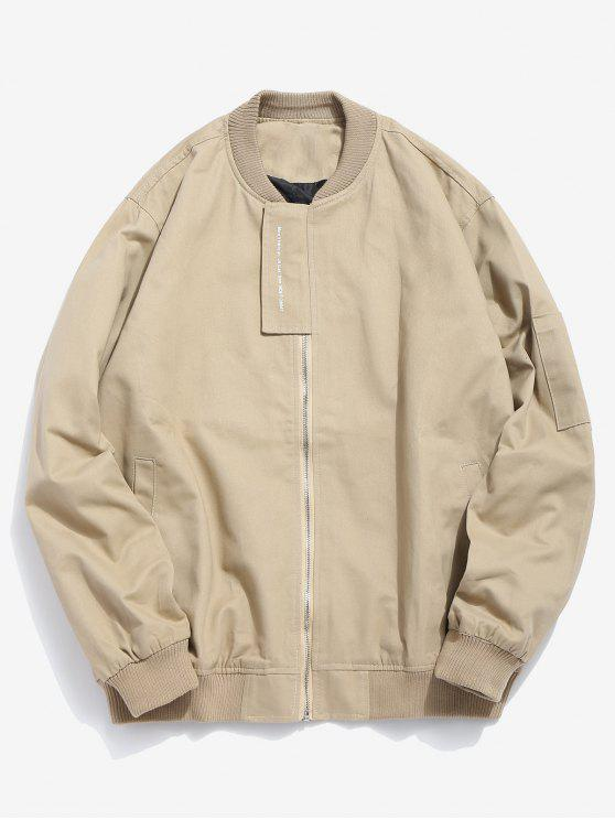 buy Casual Top Placket Bomber Jacket - LIGHT KHAKI 2XL