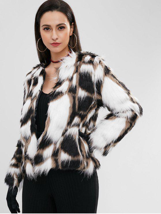 ladies Faux Fur Short Winter Coat - MULTI M