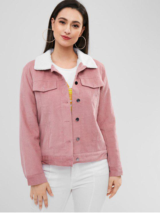 fancy Borg Lined Corduroy Jacket - LIPSTICK PINK L