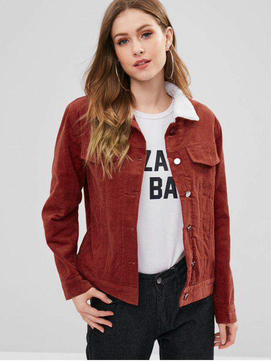 shop Borg Lined Corduroy Jacket - BLOOD RED M