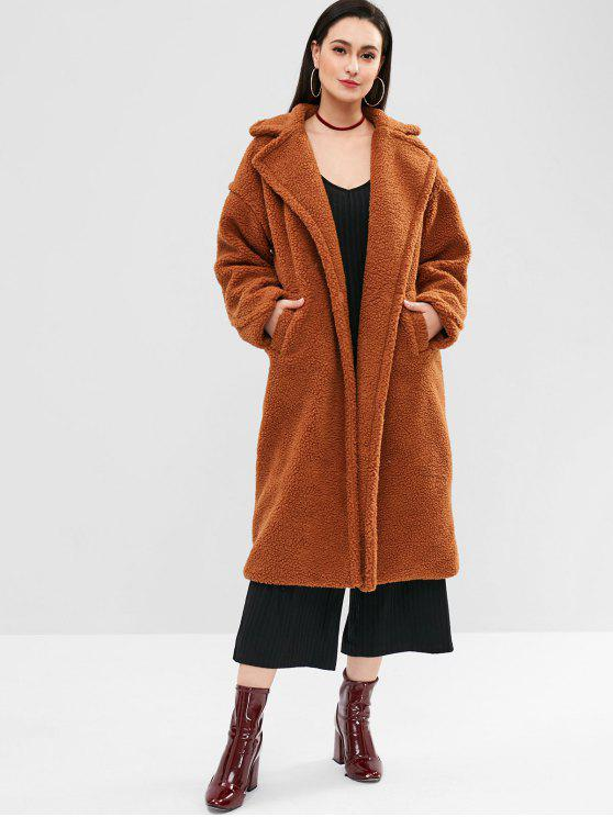 2019 Sherpa Faux Fur Winter Long Coat In BROWN S  8f7441edea6