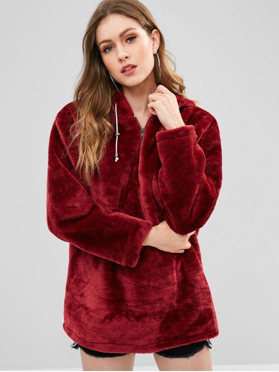 sale Zipped Long Faux Fur Hoodie - RED WINE L