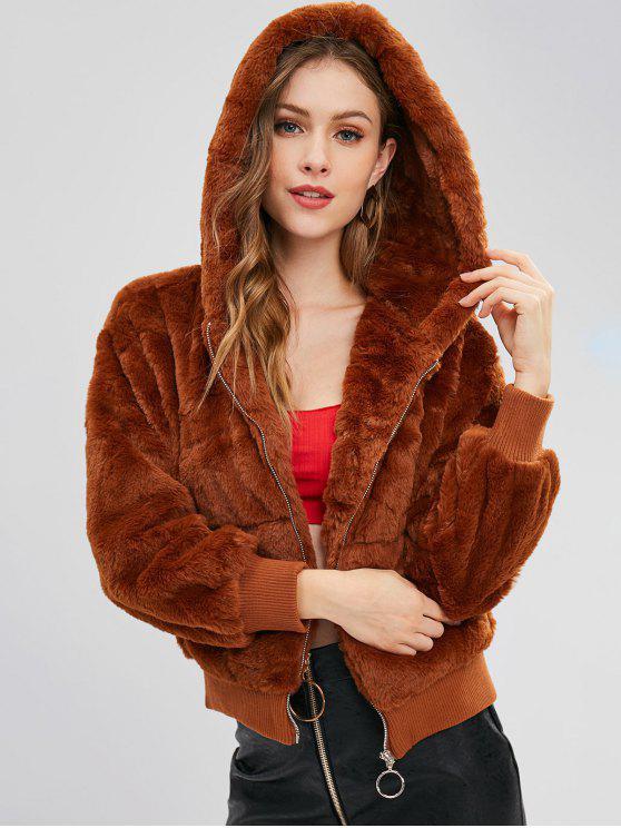 معطف شتوي بغطاء رأس فرو صناعي - بنى L