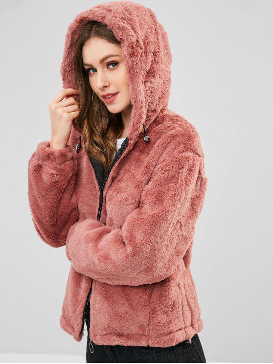 С капюшоном Искусственный мех Зимнее Пальто - Губная помада-розовый S
