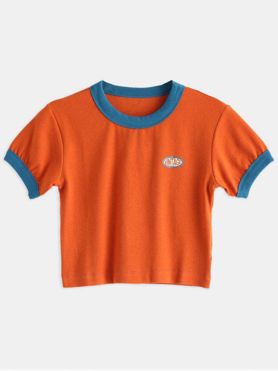 e6e69b8dab12a9 20% OFF  2019 Contrast Trim Cropped Ringer Tee In BRIGHT ORANGE M ...