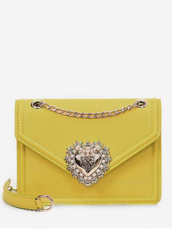 حقيبة كروس فو مزينة باللؤلؤ - الأصفر