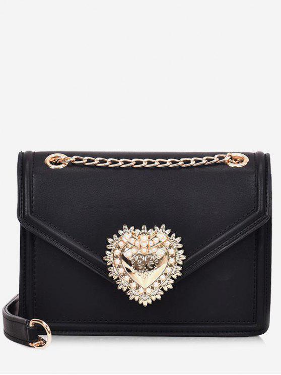 latest Faux Pearl Decorative Crossbody Bag - BLACK