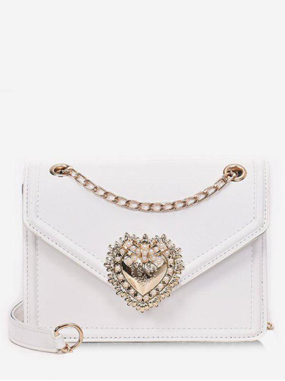 trendy Faux Pearl Decorative Crossbody Bag - WHITE