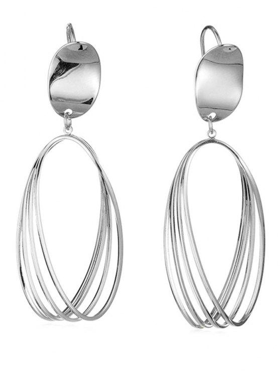 best Cut Out Teardrop Pendant Earrings - SILVER