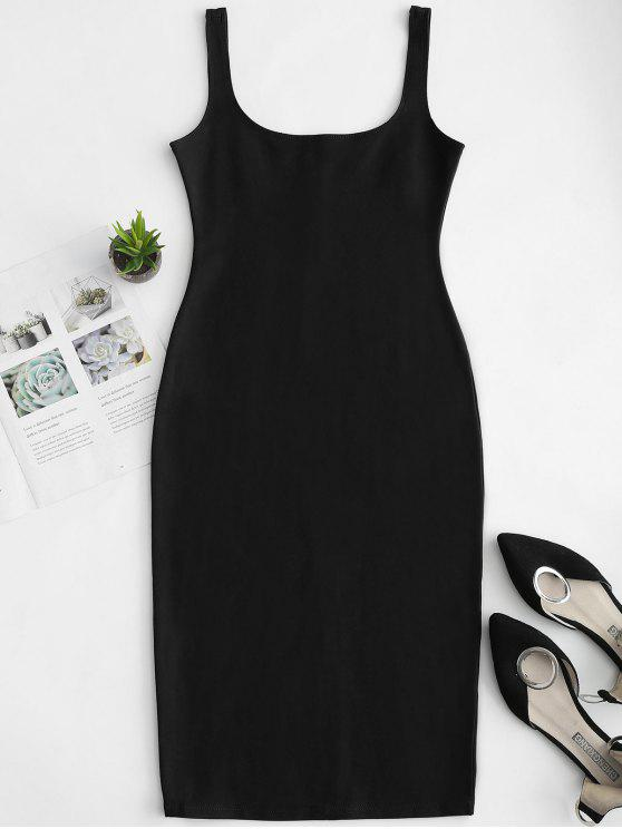 ladies U Neck Pencil Tank Dress - BLACK S