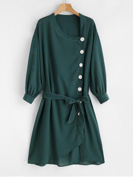 Robe Droite Ceinturée Transparente avec Bouton - Vert profond S