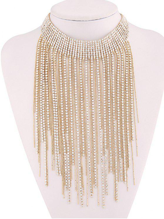 Collar de gargantilla de diamantes de imitación borla - Oro