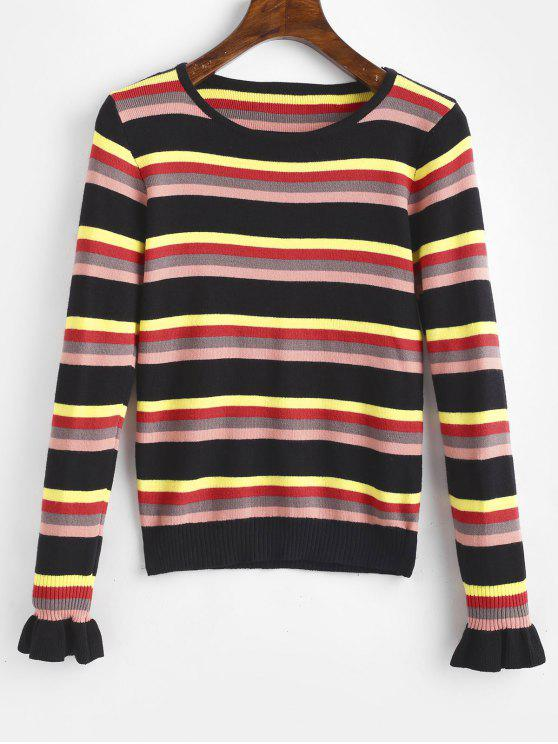 trendy Bell Sleeves Striped Knitted Top - BLACK ONE SIZE